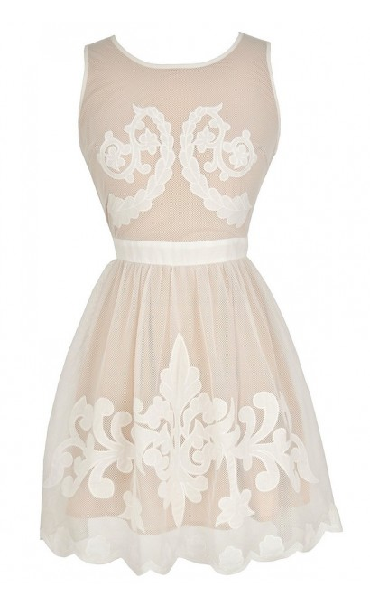 Flourishing Vine Insignia Ivory and Beige Mesh Designer Dress