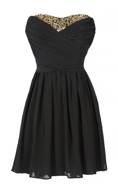 Dress To Impress Strapless Chiffon Dress in Black/Gold