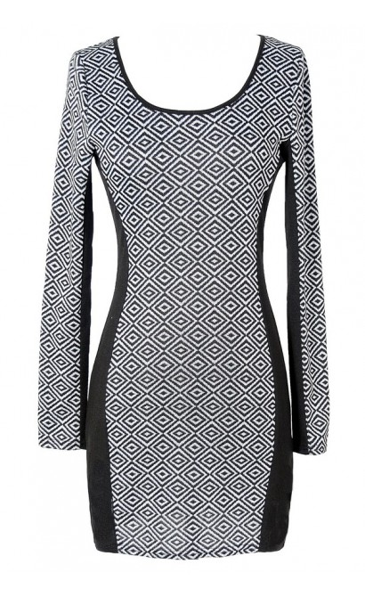 Black and Grey Diamond Pattern Dress