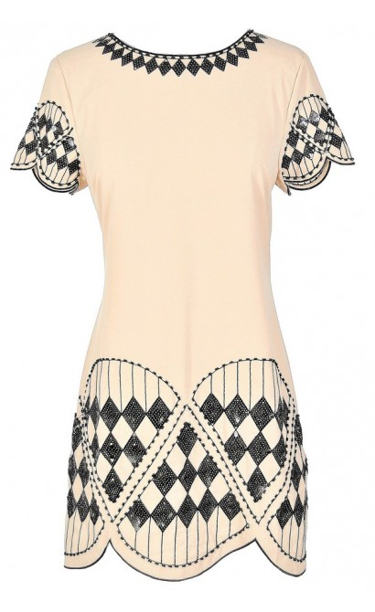 Harlequin Diamonds Black and Beige Embellished Shift Dress