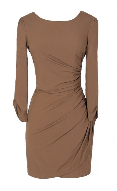 Mystery Girl Fitted Open Back Dress in Mocha