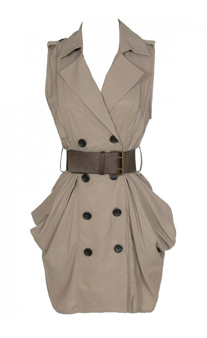 Safari Chic Belted Taupe Dress