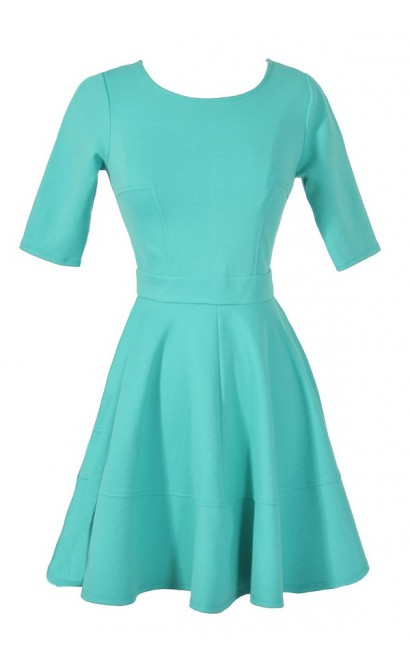 Perfect Fit and Flare Dress With Half Sleeves in Jade