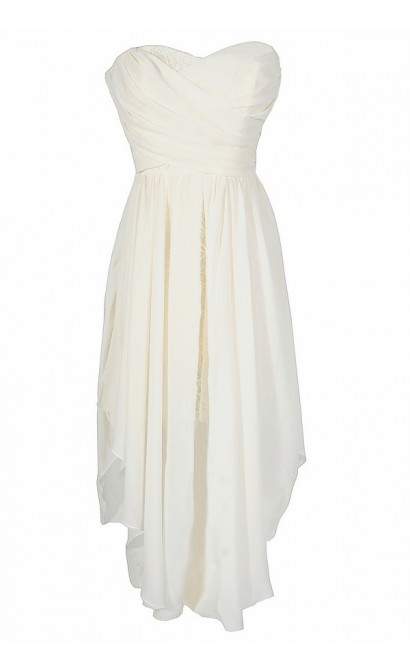 Dana Strapless Chiffon and Lace Midi Dress in Ivory