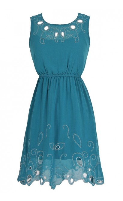 Silver Leaf Embroidered Cutout Dress in Teal