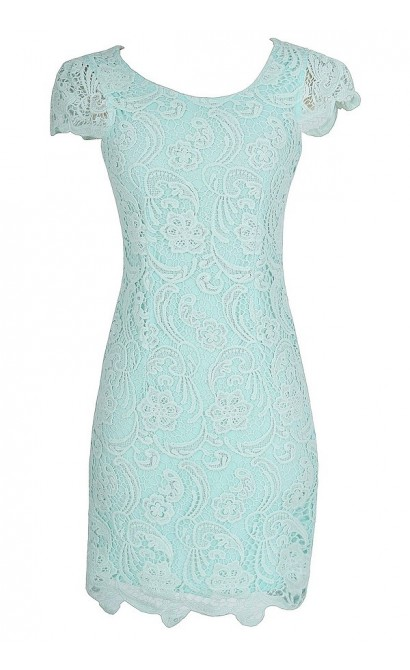 Nila Crochet Lace Capsleeve Pencil Dress in Pale Mint