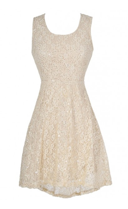 Twinkling Lace High Low Dress in Beige