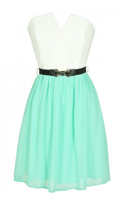 Tulip Garden Strapless Belted Dress in Ivory/Mint
