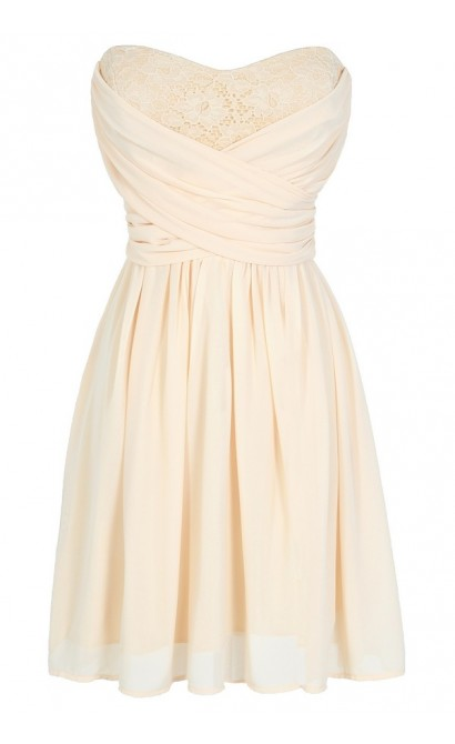 Peekaboo Lace Strapless Chiffon Dress in Cream