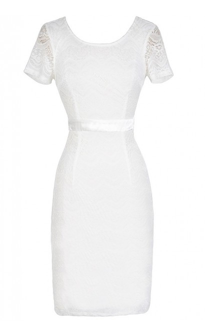 Lace Pinup Fitted Dress in Ivory