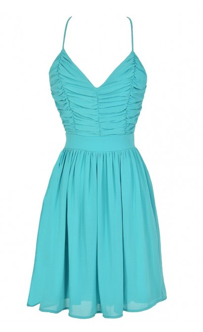 Gather Around Aqua Open Back Chiffon Dress
