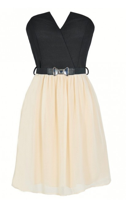 Tulip Garden Strapless Belted Dress in Black/Ivory
