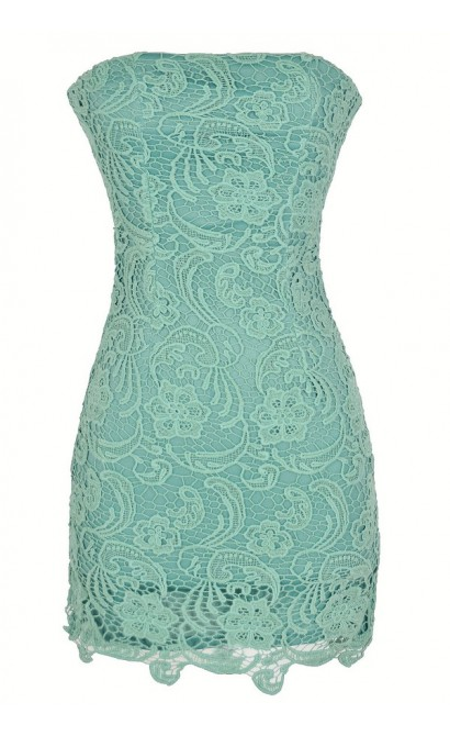 Strapless Crochet Lace Dress in Sage