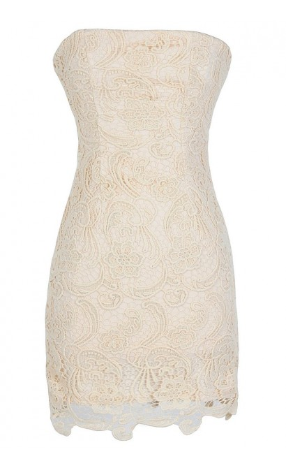 Strapless Crochet Lace Dress in Beige