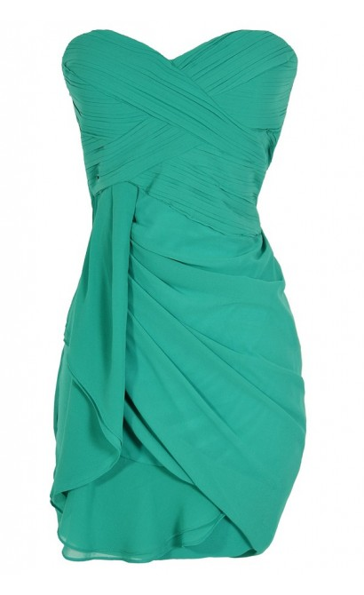 Dreaming of You Chiffon Drape Party Dress in Green by Minuet