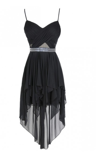 Landslide Embellished Chiffon Asymetrical Hemline Dress