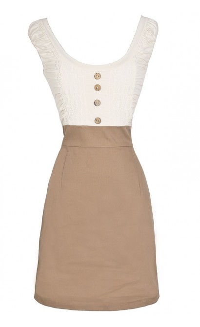 Two In One Button Front Pencil Dress in Ivory/Beige