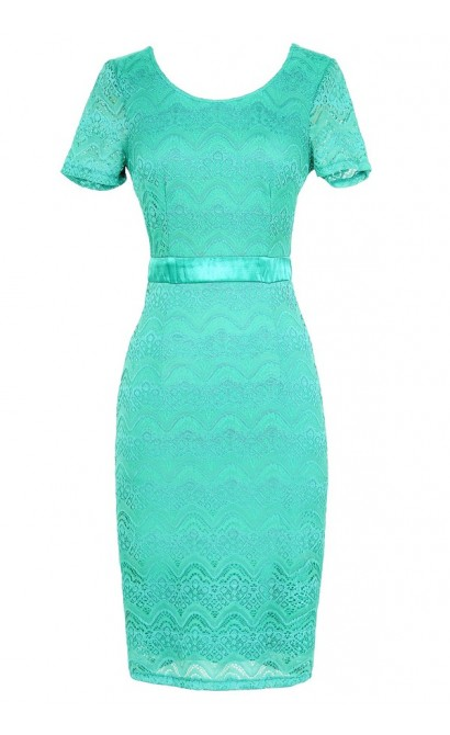 Lace Pinup Fitted Dress in Teal