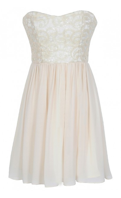 Translucent Lace Strapless Designer Dress in Ivory