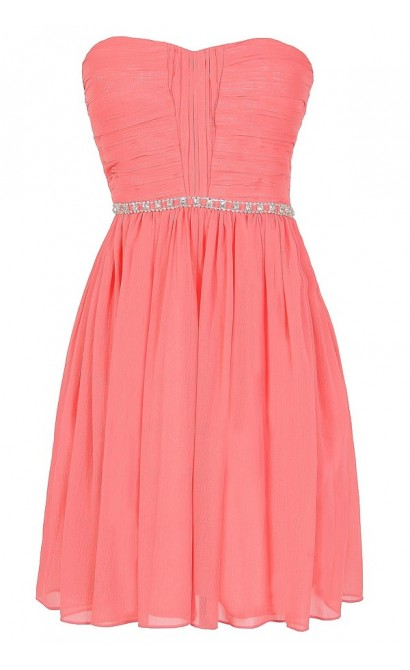 Metallic Shimmer Embellished Strapless Dress in Bright Pink