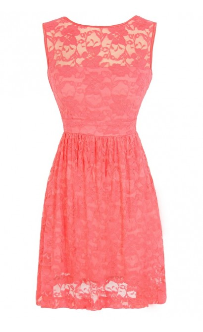 Sleeveless A-Line Lace Overlay Dress in Coral