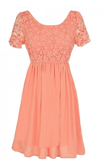 Flower Web Crochet Lace Dress in Orange Peach