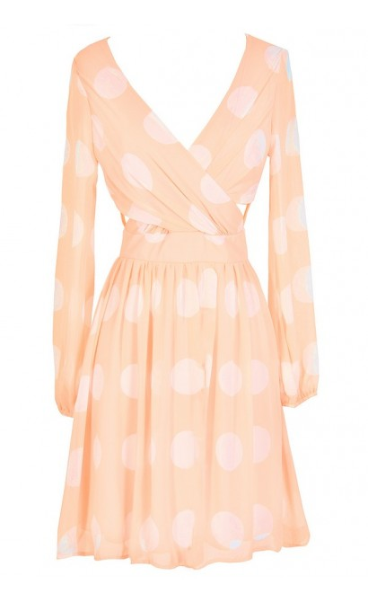 Polka Dot Crossover Chiffon Dress in Orange Crush