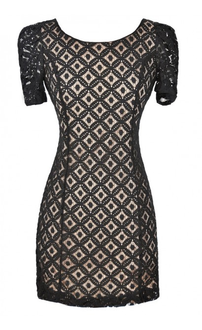 Optical Illusion Fitted Lace Dress in Black/Beige