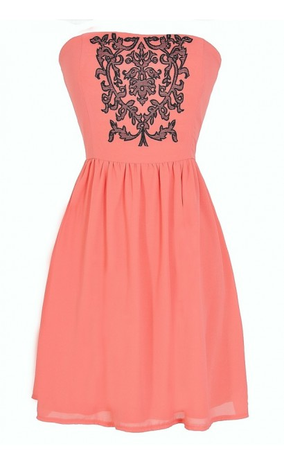 Filigree Embroidered Strapless Dress in Coral