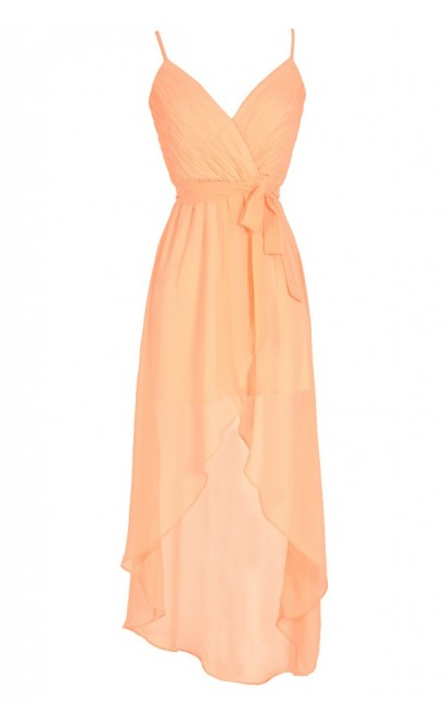 Crinkled Chiffon Crossover High Low Dress in Neon Orange