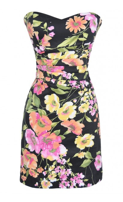 Garden Party Fitted Strapless Dress