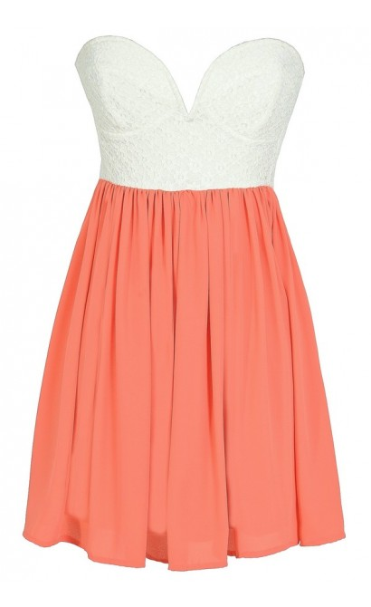 Sonya Flirty Lace and Chiffon Dress in White/Orange Peach
