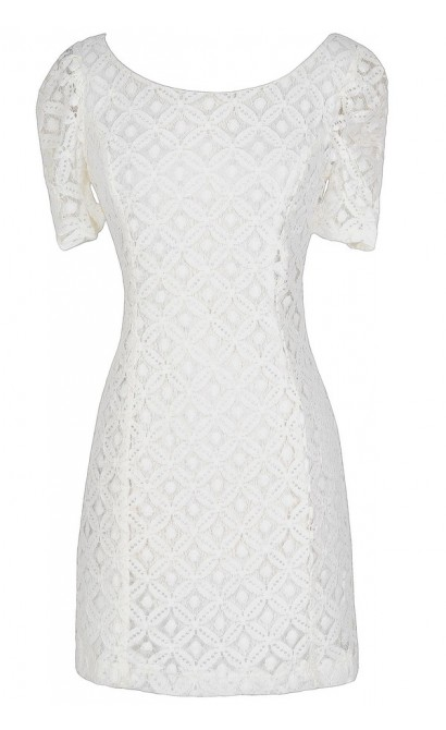 Optical Illusion Fitted Lace Dress in Ivory