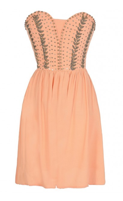 Antique Bronze Embellished Dress in Orange Peach