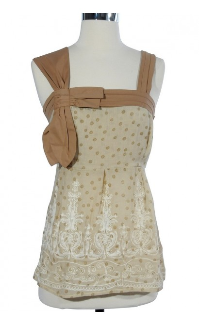 Shades of Beige Cream Embroidered Top