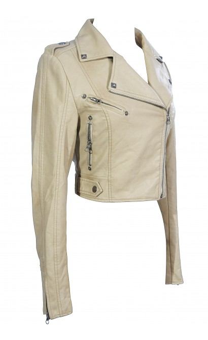 Bridget Vegan Leather Moto Jacket in Beige
