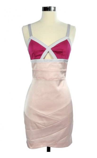 Think Pink Colorblock Cutout Pencil Dress