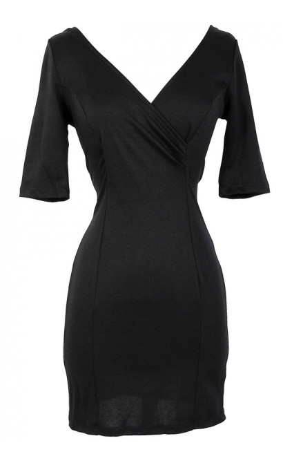 Crossover Fitted Dress With Exposed Zipper in Black