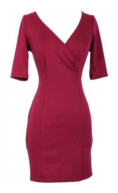 Crossover Fitted Dress With Exposed Zipper in Magenta