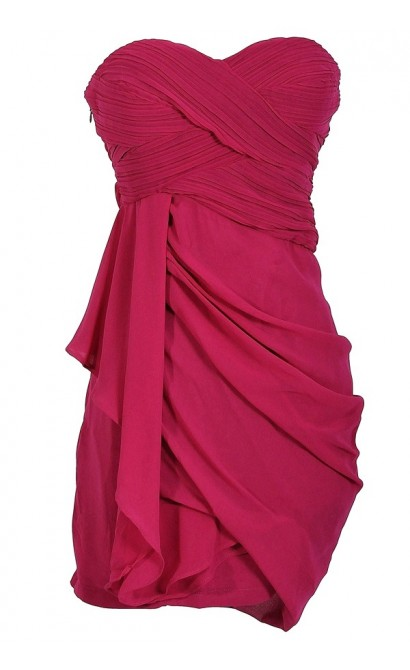 Draped Chiffon Dress in Magenta