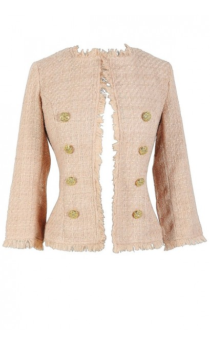 Classic Tweed Blazer In Shimmering Sand