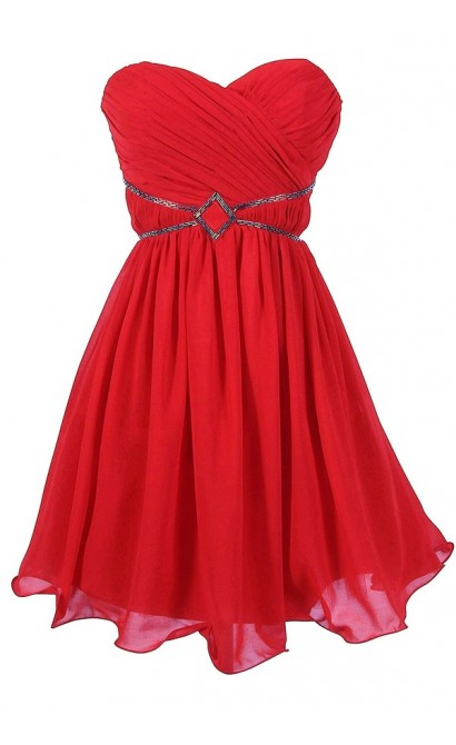 Festive Red Embellished Chiffon Designer Dress