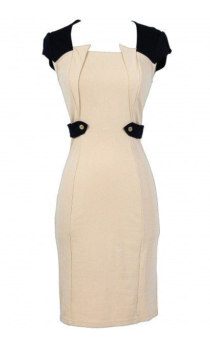 Beige and Navy Designer Pencil Dress
