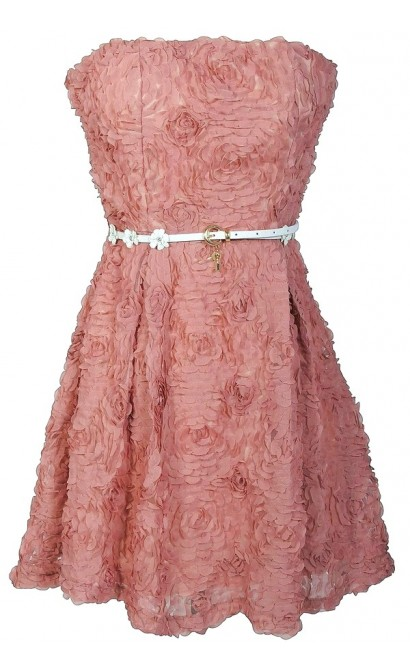 Textured Floral Lace Strapless Belted Dress in Rose