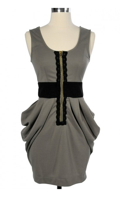 3-Dimensional Pockets Zip Front Dress in Olive