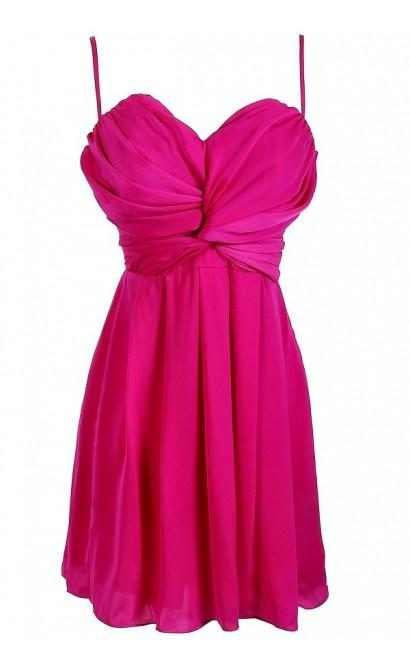 Magenta Twist Chiffon Designer Dress by Ark n Co