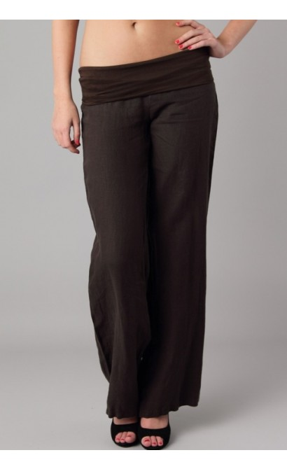Foldover Linen Pant in Black
