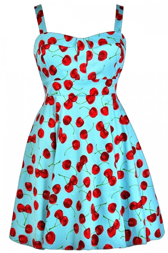 Cheerful Cherry Blue Printed Fit and Flare Dress- Plus Size