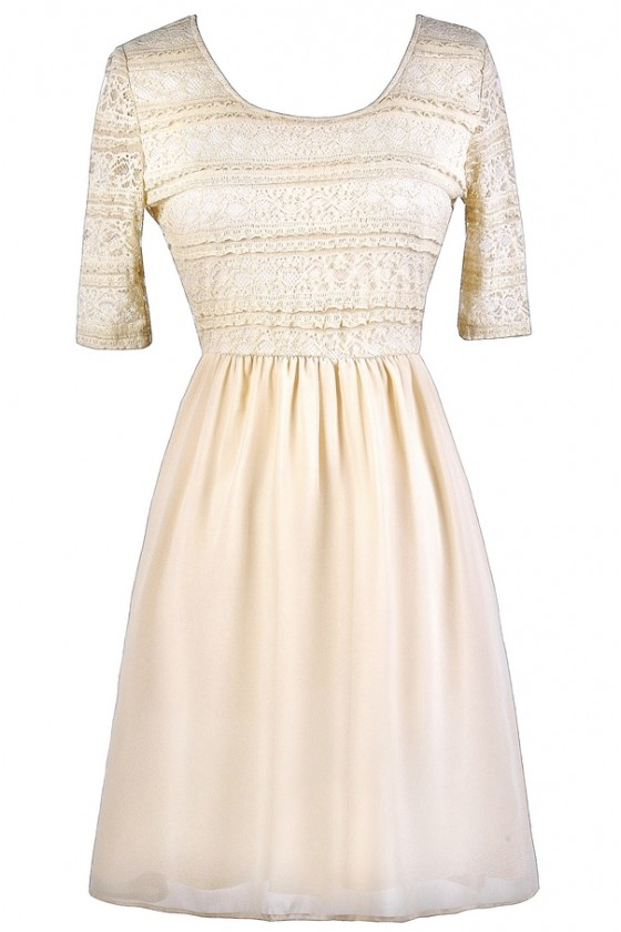 Chrissy Lace And Chiffon Dress In Cream