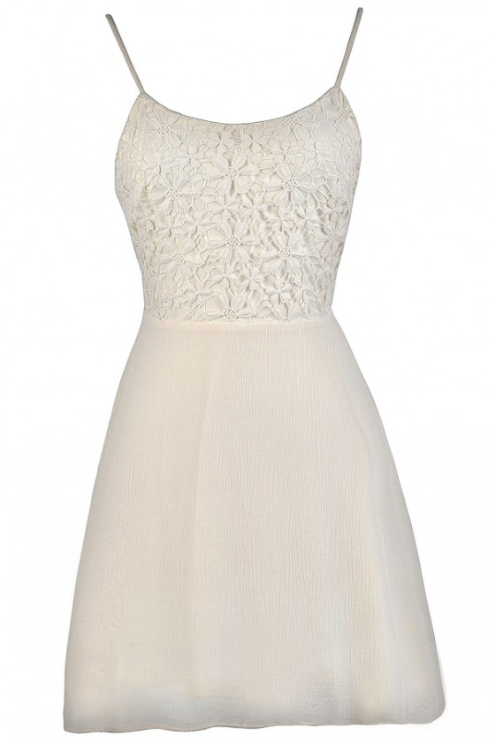 best authentic superior performance cheaper Crochet Lace Tie Back A-Line Dress in Off White